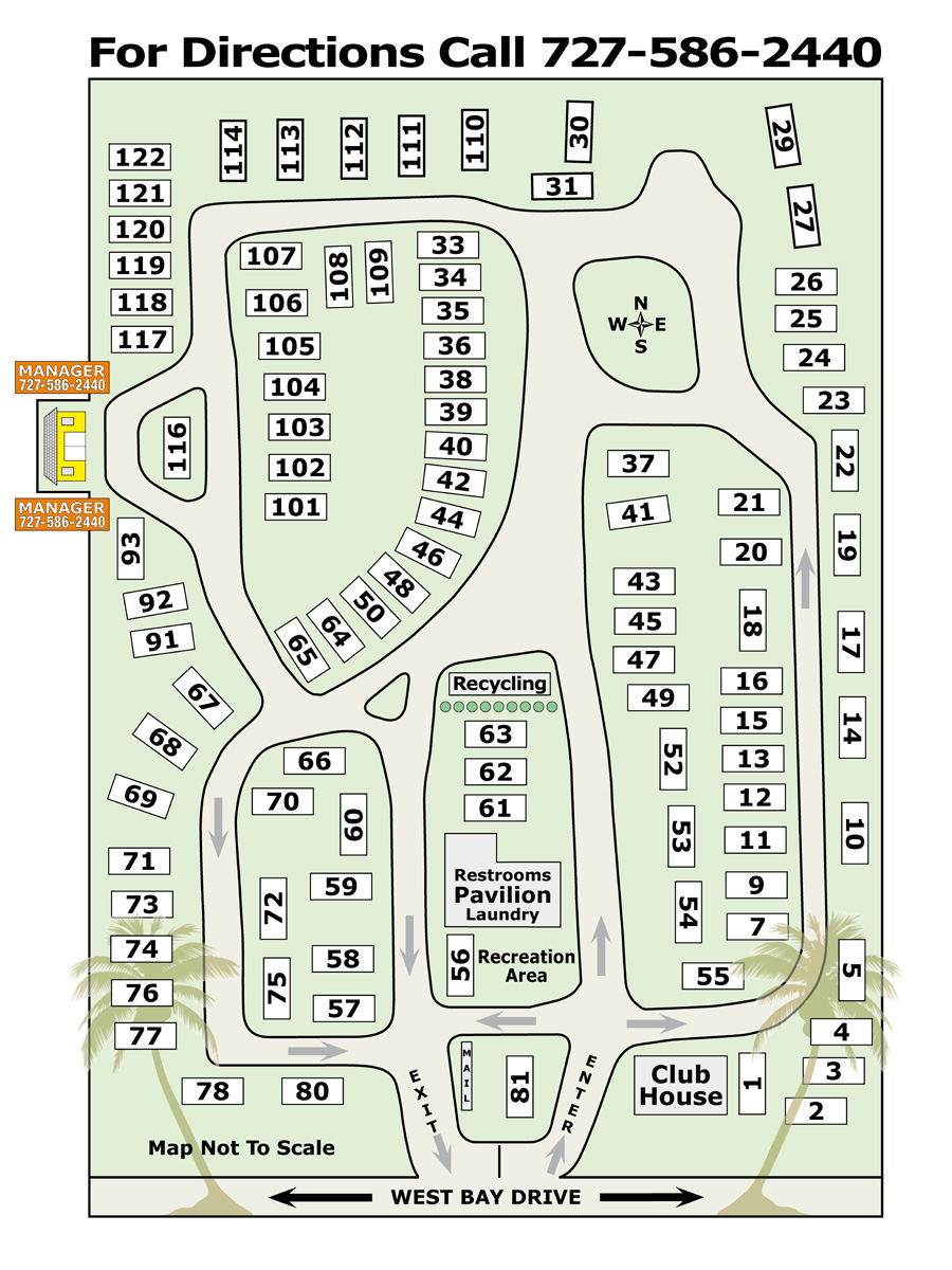 Map Of West Bay Oaks Mobile Home And RV Park